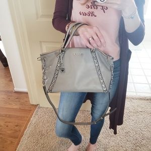 Michael Kors Grey Leather Silver Chain Crossbody
